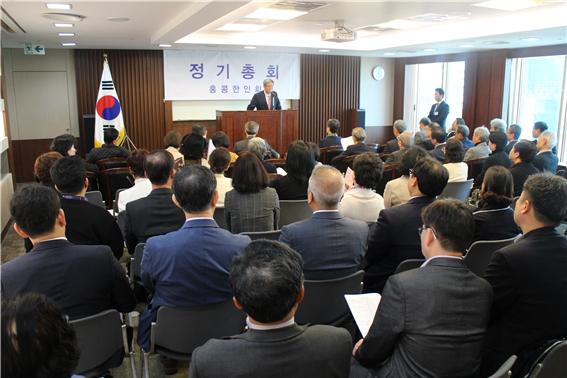 제 50대 홍콩한인회 김운영 회장이 취임인사말을 전하고 있다.