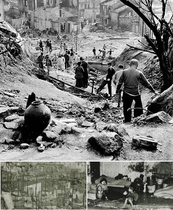 1953년 섹킵메이 화재 현장과 이재민의 모습