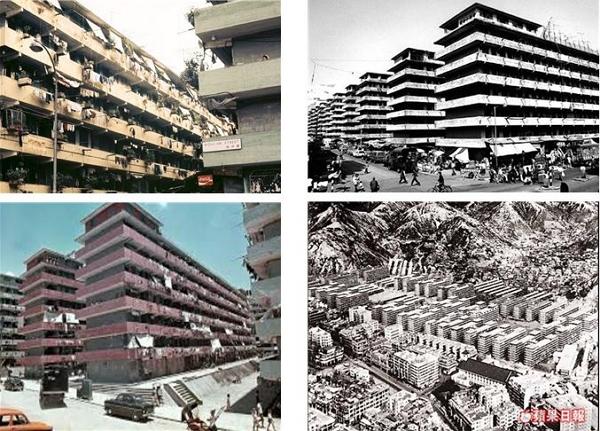 섹킵메이 공공주택단지의 초기 모습. 1층에는 상가시설, 2층부터 주거시설이 위치하였다.