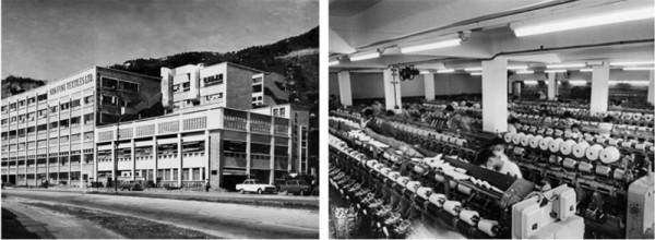 남풍 방직 공장의 1970년대 모습            방직 공장 내부 모습